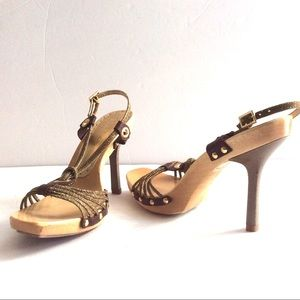 "BCBGirls Brown Gold Strappy Sandal 4""Heel Sz6  $10"